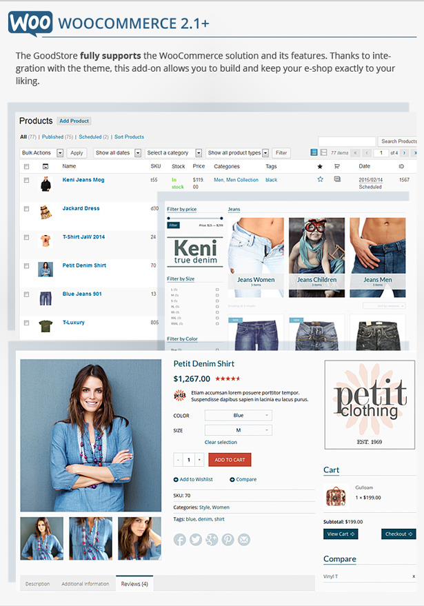 WooCommerce - the GoodStore fully supports the WooCommerce solution and its features. Thanks to integration with the theme, this add-on allows you to build and keep your e-shop exactly to your liking